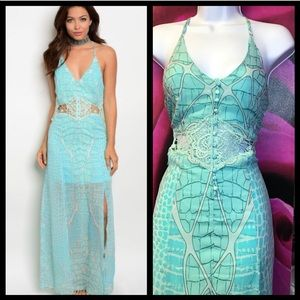 Crochet lace unique maxi dress